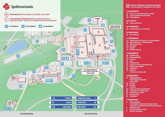 Kanta-Hämeen keskussairaala-alueen kartta