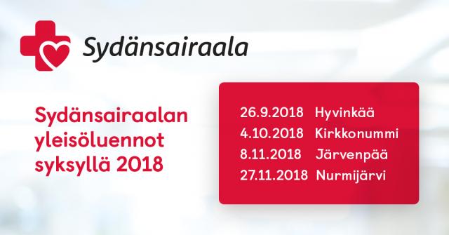 Sydänsairaalan yleisöluennot syksyllä 2018
