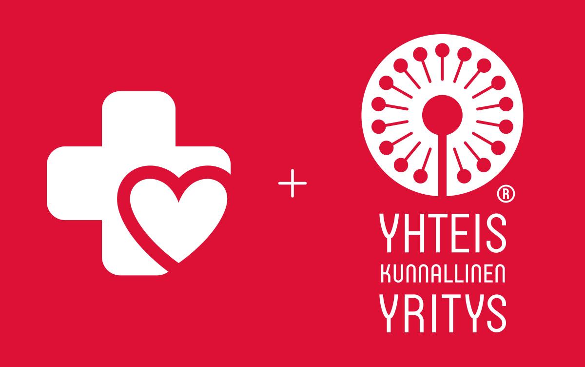 Yhteiskunnallinen yritys -logo ja Sydänsairaalan logo